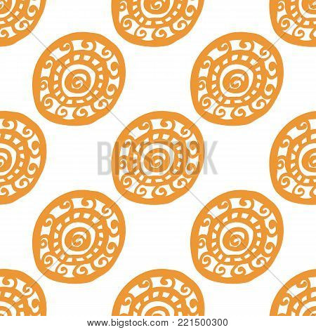 Round ornament seamless pattern, hand drawn, inc. Vector. Golden, white. Seamless pattern for fabric background
