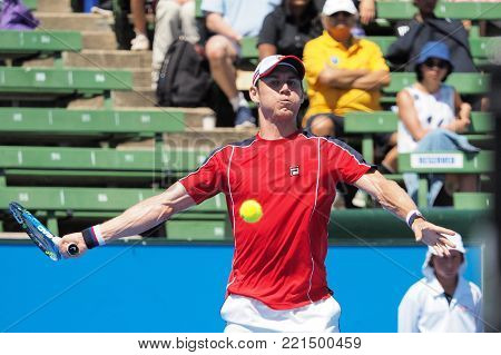 Melbourne, Australia - January 11, 2018: Tennis player Matthew Ebden  preparing for the Australian Open at the Kooyong Classic Exhibition tournament