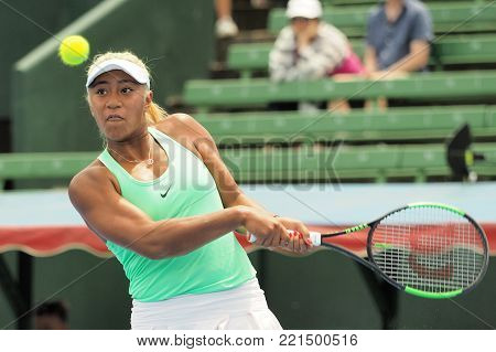 Melbourne, Australia - January 11, 2018: Tennis player Destanee Aiava preparing for the Australian Open at the Kooyong Classic Exhibition tournament