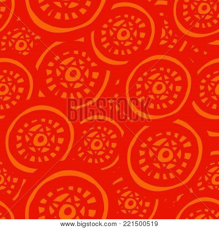 Round ornament seamless pattern, hand drawn, inc. Vector. Red, orange. Seamless pattern for fabric background