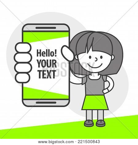Simple flat stylistics adaptation to corporate style. Icon message girl woman shows mobile phone message positive