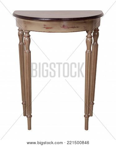 Vintage Furniture - Retro wooden half moon console table with brown top and beige legs isolated on white background including clipping path