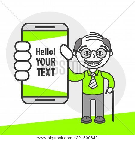 Simple flat stylistics adaptation to corporate style. Icon message man granddad shows mobile phone message positive