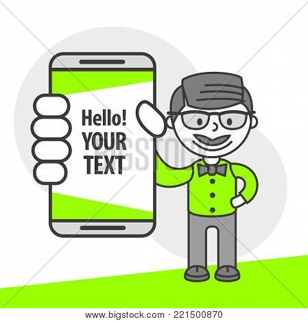 Simple flat stylistics adaptation to corporate style. Icon message man employee manager gentleman shows mobile phone message positive