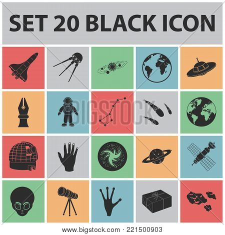 Space technology black icons in set collection for design.Spacecraft and equipment vector symbol stock  illustration.