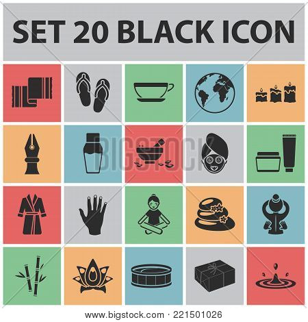 Spa salon and equipment black icons in set collection for design. Relaxation and rest vector symbol stock  illustration.