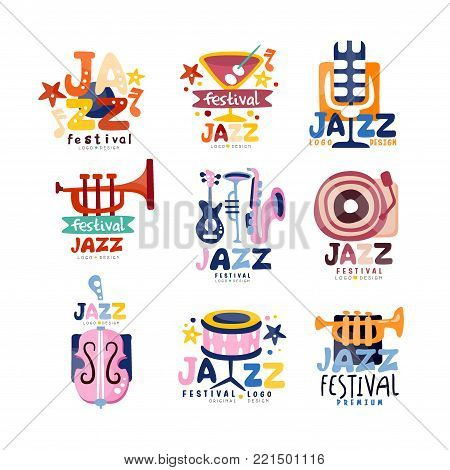 Colorful logos set for jazz festival or live concert. Musical event labels or emblems with guitar, saxophone, retro player, trumpet, microphone, bass. Music club emblems. Hand drawn vector collection.