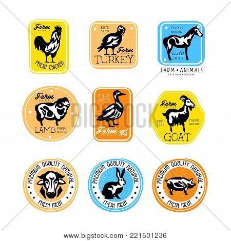 Vector set of vintage meat store labels. Logos with black and white silhouettes of farm animals. Butcher shop. Sticker with lamb, turkey, chicken, goat, beef and pork. Design for branding products.