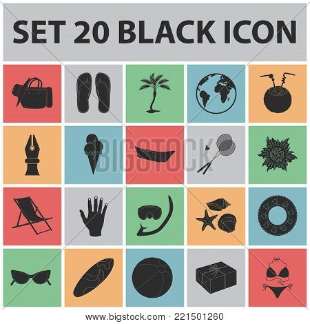 Summer rest black icons in set collection for design. Beach accessory vector symbol stock  illustration.