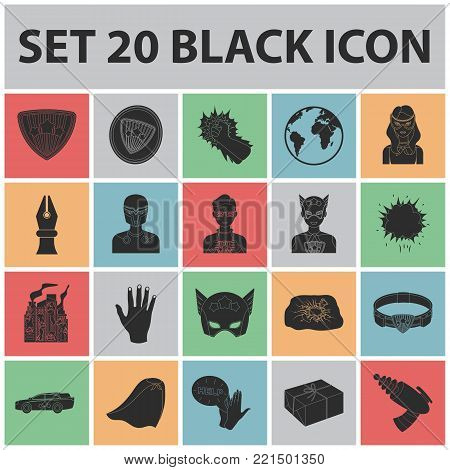 A fantastic superhero black icons in set collection for design. Superhero's equipment vector symbol stock  illustration.