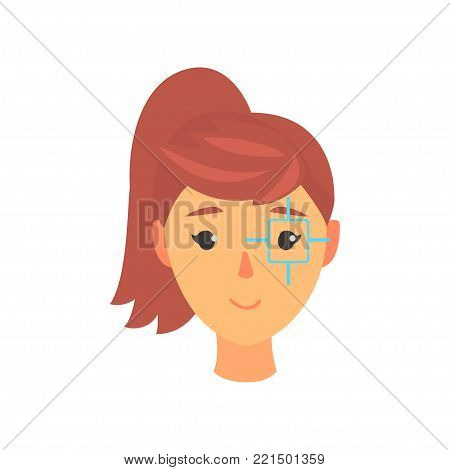 Face of young woman, eye with a target centred, ophthalmology concept cartoon vector Illustration on a white background