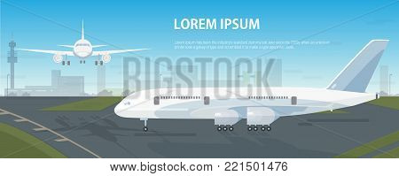 Colorful horizontal banner with airplanes parked on runway and flying in sky against airport building on background. Descending and landed aircrafts and place for text. Modern vector illustration
