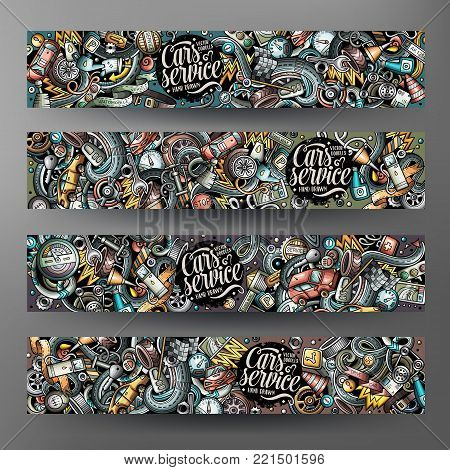 Cartoon cute colorful vector hand drawn doodles automotive corporate identity. 4 horizontal banners design. Templates set. All objects separate