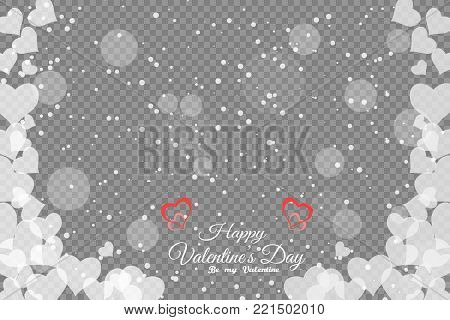 Vector blank of wide greeting poster with heart pattern, snowfall and glow with transparent background.