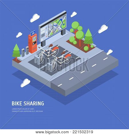 Pair of bikes parked at docking station on city street, payment terminal, stand with map, trees and road. Public bicycle sharing scheme or rental system. Colorful isometric vector illustration