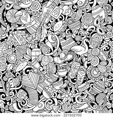 Cartoon cute doodles Latin America seamless pattern. Line art detailed, with lots of objects background. All objects separate. Backdrop with latinamerican symbols and items
