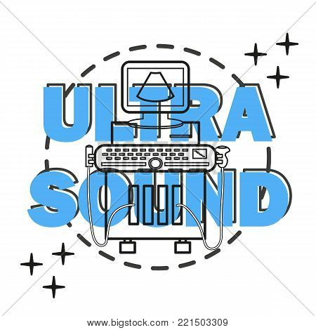 Ultrasound machine isolated on white with line and convex transducers. Medical diagnostic device with ultrasound probes. Sonography. Vector illustration made in modern line style. Ultrasound equipment.