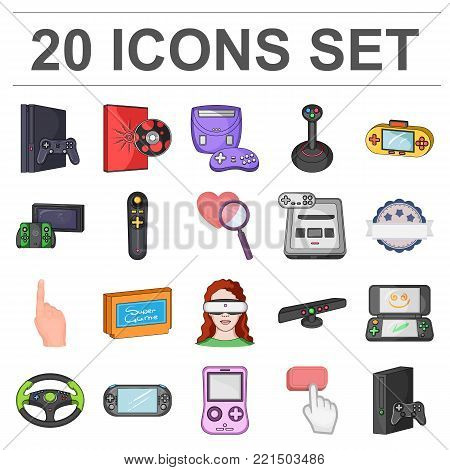 Game console and virtual reality cartoon icons in set collection for design.Game Gadgets vector symbol stock illustration.