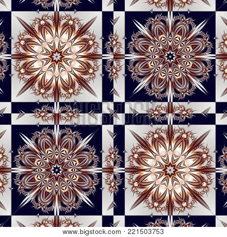 Two-tone pattern with floral star and square ornament. You can use it for invitations, notebook covers, phone case, postcards, cards, ceramics, carpets. Artwork for creative design.