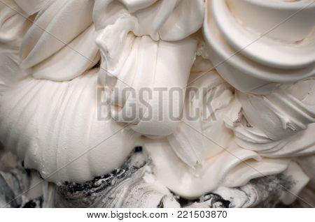 Creamy ice cream close-up, relief texture of ice cream.