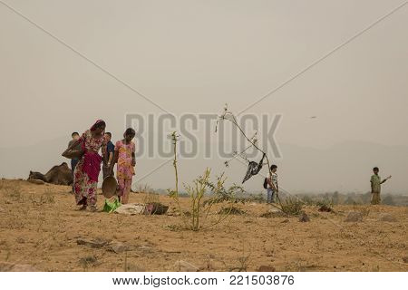 PUSHKAR, INDIA -October, 31, 2014 : native woman in countryside area in Pushkar city.