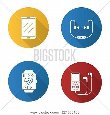 Gadgets flat design long shadow glyph icons set. Tablet computer, headphones, mp3 player, sport bracelet. Vector silhouette illustration