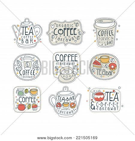 Coffee and tea labels for street shop, cafe or bar set in different shapes, teapot, paper cup, rectangle. Take away store. Hand drawn vector with lettering. Line art with hot drinks, cakes, donut.