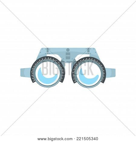 Trial frame for checking patient vision, ophthalmologic equipment cartoon vector Illustration on a white background