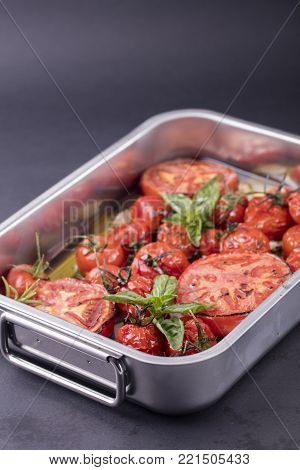 Baked Tomatoes In The Oven Ready For Eating
