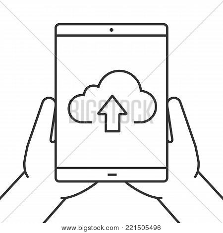 Hands holding tablet computer linear icon. Cloud computing. Thin line illustration. Tablet computer with cloud and upload sign. Contour symbol. Vector isolated outline drawing