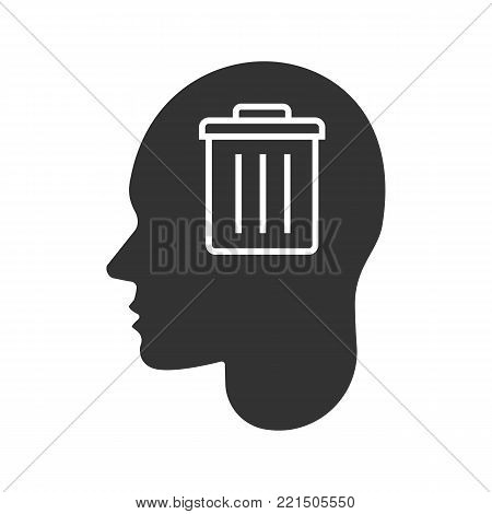 Human head with trashcan inside glyph icon. Silhouette symbol. Thoughts about environment pollution. Negative space. Vector isolated illustration