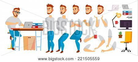 Business Character Vector. Working Male. Environment Process In Office Or Creative Studio. Set For Animation. Full Length. Programmer, Designer, Manager. Poses, Face Emotions, Gestures. Isolated Cartoon Illustration