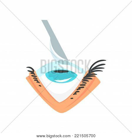 Scalpel over human eye, eye surgery and vision correction cartoon vector Illustration on a white background