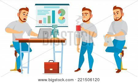 Business Character Vector. Working Boy, Man. Environment Process In Office Or Creative Studio. Full Length. Programmer, Designer. Poses, Face Emotions, Gestures. Isolated On White Cartoon Character Illustration