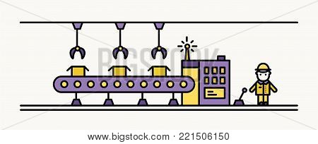 Factory belt conveyor equipped with hanging robotic manipulators conveying boxes and industrial worker in hard hat standing at controlling panel. Colored vector illustration in line art style