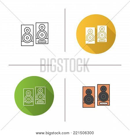 Speakers icon. Flat design, linear and color styles. Stereo system. Isolated vector illustrations