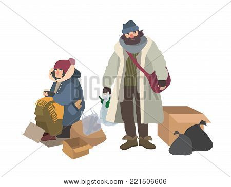 Homeless man and woman begging for money on street. Pair of bums, beggars, vagrants or vagabonds. Poor male and female cartoon characters isolated on white background. Colorful vector illustration