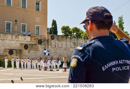 Parade Changing Of The Guard In Athens.