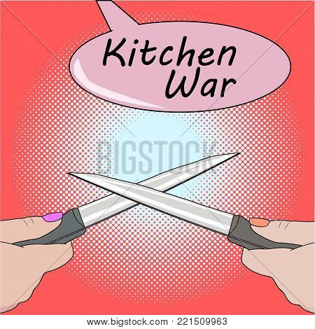 Disagreement in cooking. Kitchen accessories equipment in move. Girls having argument fight at the knives