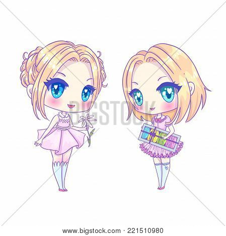 Cute vector illustration. set Kawaii Anime girl. Big eyes. Use for postcards, print on clothes or other things. anner decorations. Happy valentine s day