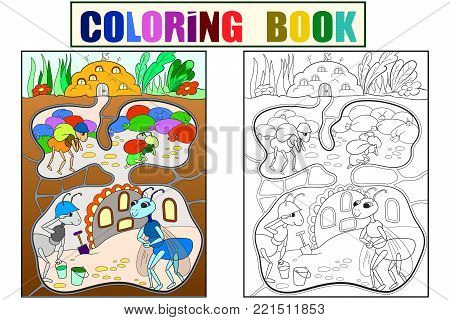 Interior and family life of ants in an anthill coloring for children cartoon vector illustration. Black, color and white