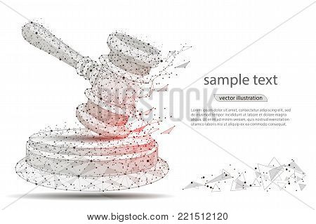 gavel. abstract hammer design of a judge, in the form of lines and dots on a white background with space for text. isolated from low poly wireframe, polygonal image. vector illustration
