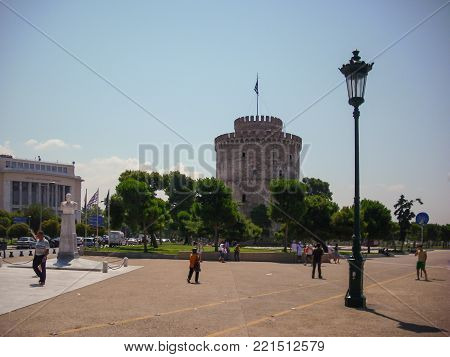 Thessaloniki, Greece - June 07 2014 : tourist visiting The White Tower in Thessaloniki City, Greece.