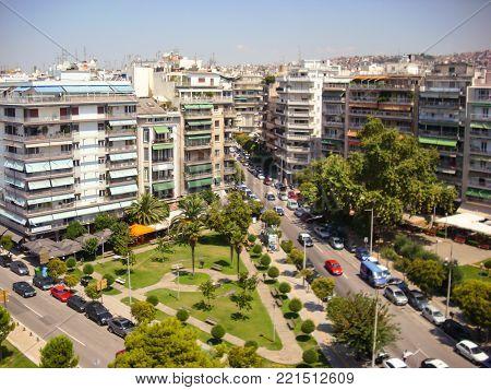 Thessaloniki, Greece - June 07 2014 : cityscape - apartments blocks in Thessaloniki City, Greece.
