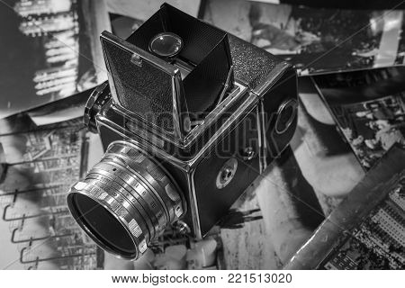 old camera retro medium format camera in the old style