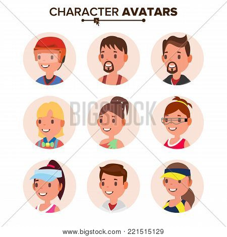 Character People Avatar Set Vector. Face. Default Avatar Placeholder. Cartoon, Comic Art Flat Illustration