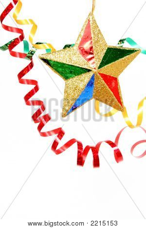 Multi-Coloured Celebratory Tinsel And Christmas Star On A White