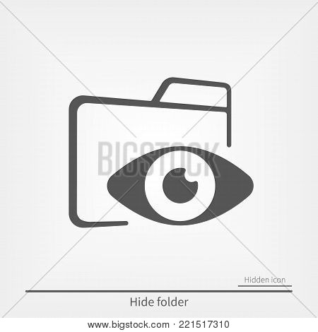 closed folder with eye icon. Hidden folder. Hide or unhide function sign