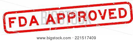 Grunge red FDA approved word square rubber seal business stamp on white background