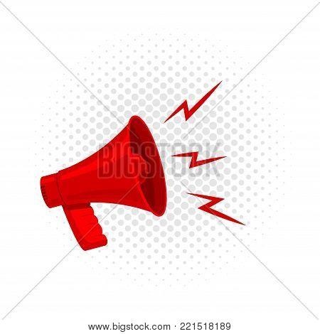 Retro megaphone vintage poster concept on halftone background. Loudspeaker retro sound design icon.